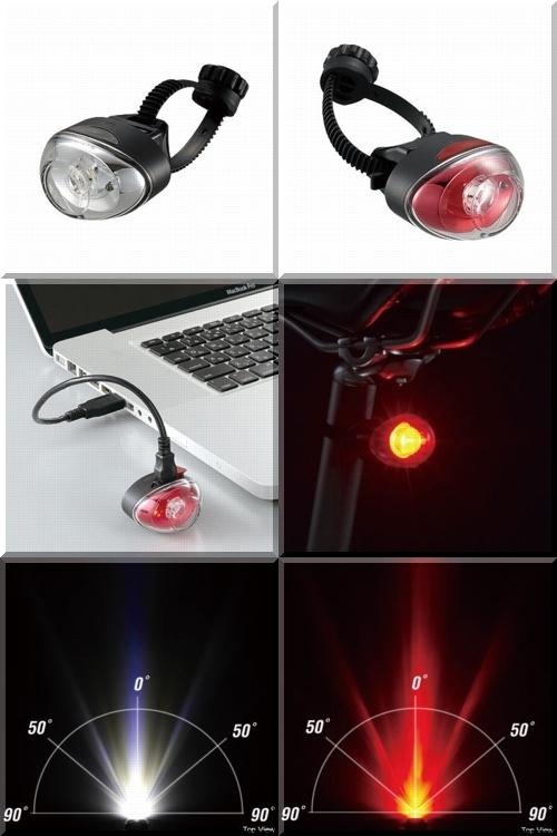 CATEYE/TL-LD611-FR/フロントリアヘッドライトテールライト/明るい/USB充電式乾電池式/b